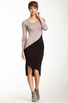 V-Neck Asymmetrical Colorblock Dress on HauteLook