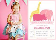 IT'S A ZOO Birthday Girl Photo Invitation by theteacookie on Etsy, $15.00