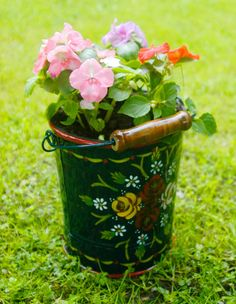 Flower Bucket | Narrowboat Hand Painted Buckets