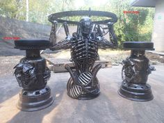 alien coffee table, life size scrap metal art from thailand