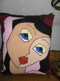 Brunette Abstract Face Pillow