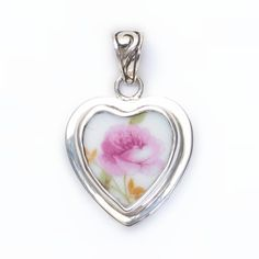 Broken China Jewelry Vintage Pink Single Rose Sterling Heart Pendant