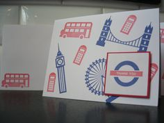 Handmade Thank You Note Cards Set of 5 Stamped by apaperaffaire, $10.00