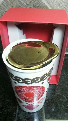 Red Jewel 10 FL oz Starbucks Coffee Tumbler, Starbucks Gold, Coffee Mugs, Coffee Snobs, Red Jewel, I Love Coffee, Cute Mugs, Tumblers, Hot Chocolate