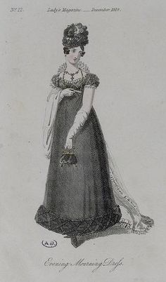 1818 mourning gown for evening from the Lady's Magazine.