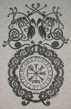 S - XL Vegvísir Bind Rune Circle Viking Pagan Norse T-Shirt Choice of Colors BL