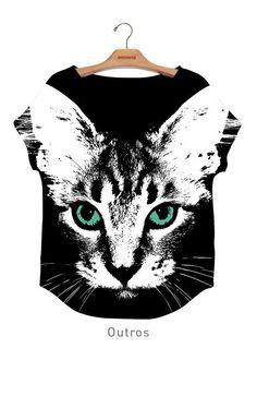 Blusa Plus Carimbo Digital Gato