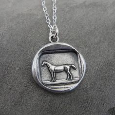 Horse wax seal necklace - Equestrian - French antique wax seal jewelry on Etsy, $50.00