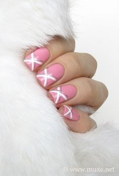 Nails pienk with a whit kros