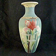 Satsuma Vase, Red Iris and Cranes.