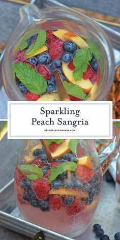 Sparkling Peach Sangria is the perfect summer cocktail recipe for your next party! Make a non-alcoholic and alcoholic version with fresh summer fruits. #sangriarecipe #sparklingsangria www.savoryexperiments.com