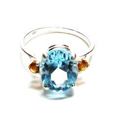 "Topaz ring, sky blue topaz,  topaz accent ring, birthstone ring, blue orange, s71/2  ""Blue Dancer"" by Michaelangelas on Etsy"