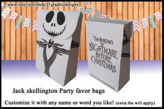 small Jack skellington party favor bags DYI by JTgraphicdesigns