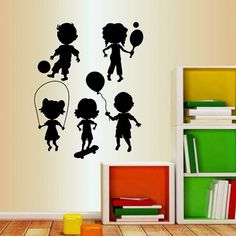 Zoomie Kids Cute Little Kids Playing Wall Decal Colour: Lime Tree Green Wall Decals Yellow, Vinyl Wall Decals, Wall Stickers, Church Interior Design, Kids Silhouette, Letter Wall, Wall Art Pictures, Decoration, Kids Playing