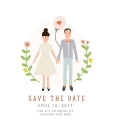 Custom Portrait Save the Date Card  DIGITAL by mylittlebuffalo, $65.00