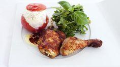 Kyllinglår med bakt tomat og mozzarella