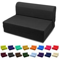 Sleeper Chair Folding Foam Bed Choose Color & Sized Single,twin or Full (Full (5x46x74), Black)
