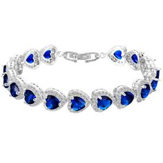 EVER FAITH© Silver-Tone CZ September Birthstone Gorgeous Heart-Shaped Roman Tennis Bracelet Sapphire-color >>> To view further, visit now : trend jewelry 2016
