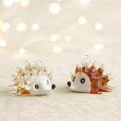 Glass Hedgehog Ornaments   Crate and Barrel