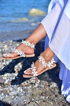 Bridesmaid Sandals, Beach Wedding Sandals, Bridal Sandals, Wedding Flats, Boho Wedding, Bridesmaids, Bohemian Sandals, Floral Sandals, Greek Sandals