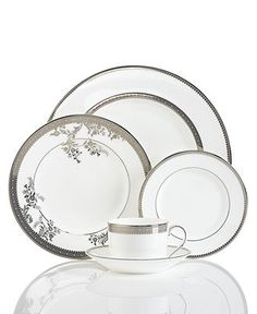 Vera Wang Wedgwood Dinnerware, Lace Collection - Fine China - Macy's Bridal and Wedding Registry Fine China Dinnerware, Dinnerware Sets, Porcelain Dinnerware, Wedding Gift Cutlery, Vera Wang Gowns, Wedding China, China Sets, Dish Sets, Dinner Sets
