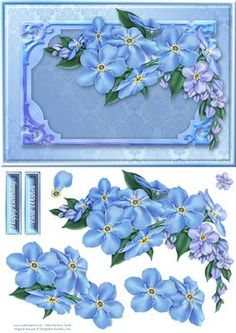 Forget Me Nots Quick Card on Craftsuprint designed by Russ Smith - A5 card front, greeting banners and decoupage layers, using a painting of blue and purple forget-me-nots on a damask background. - Now available for download!