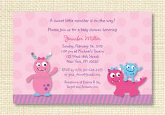 Lil Pink Monster Baby Shower Invitation Print Your Own Printable