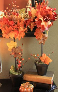 DIY Fall Topiaries...a sort of tutorial. Her pictures are nice and they turned out fabulous, but her directions are very vague and definitely not step by step.
