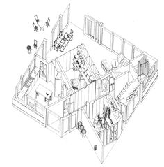 Alison & Peter Smithson - Put-Away House - - A design focused on the problem of how to store all the usual belongins of the owners in the current times Architecture Portfolio, Architecture Drawings, School Architecture, Architecture Design, Section Drawing, Line Drawing, Orthographic Drawing, Alison And Peter Smithson, Axonometric Drawing