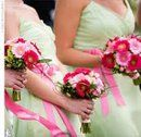 Pink and Green Wedding - partymotif.com  I would use the same ribbon on the flowers and for bridemaids' sashes... to tie everything together