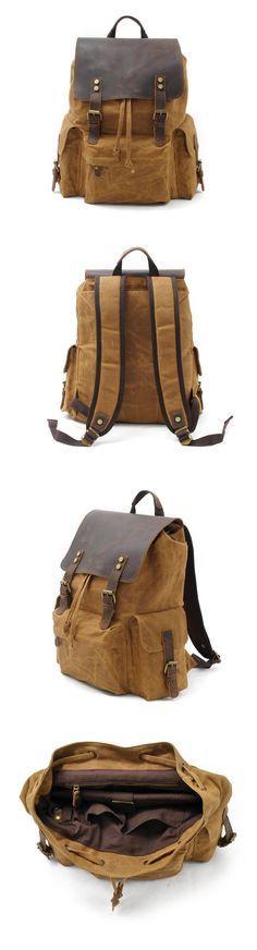 Waxed Canvas Leather Backpack Rucksack School Backpack Hiking Travel Backpack