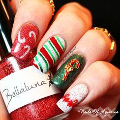 """Nails of Aquarius: """"Peppermint Kisses"""" Nail Art Design featuring Bellaluna Cosmetics Polishes"""