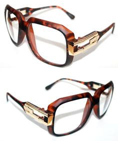 Vintage 623 Men's Hip Hop Clear Lens Eye Glasses Matte Brown Gold Grandmaster  #Spexx #Square