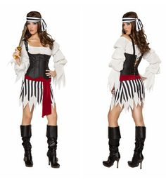 Aliexpress.com : Buy Black White Stripes Corest Pirate Costumes For Ladies 2013 Women Halloween Cosplay Carnival Dress Wholesale Reatil from Reliable One Eyed Off Shoulder pirate fancy dress queen pirate adult costumes Carnival Halloween Women female Pirate costume Dress 2013 suppliers on C  F Halloween Fashion Store $33.99