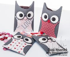 """2/2/2013; Chiaki Haverstick at 'Stamp, Ink, Paper ... Create!' website; owl treat holder; cs is 3-1/2"""" x 8-1/2"""" folded I half & scored at 3/8"""" on each side; size of various punches used is indicated on the website"""