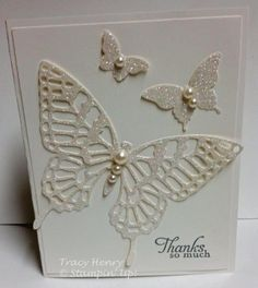 Glitter white BUTTERFLY thank you handmade card stampin up