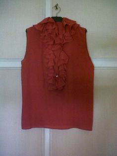 Valentino red silk chemisette with jabeau