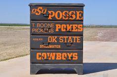 OSU...{Oklahoma State University} dresser! I used Annie Sloan Chalk Paint!