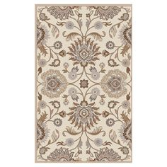Hand-tufted in India, this chic wool rug showcases a scrolling floral motif in neutral hues.   Product: RugConstruct...