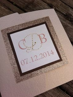 Custom Color Pocketfold Invitation with Beautiful Glitter Backing www.thepolkadotpapershop.com