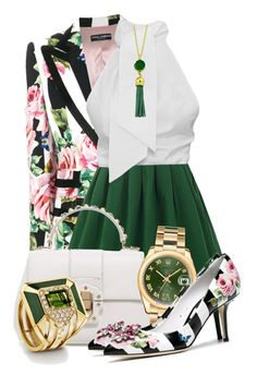 """Wear it in a Green Skirt"" by queenrachietemplateaddict ❤ liked on Polyvore featuring Dolce&Gabbana, Rolex and WearIt"