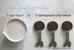 The base for any chia pudding recipe is 3 tablespoons chia seeds to 1 cup almond milk. Add cinnamon and berries