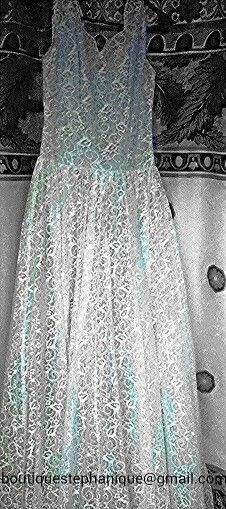 Stunning 50's blue satin wedding dress with white lace overlay  $250