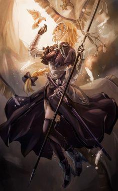 Rule/Joan Of Arc (Juana de Arco) from Fate/Apocrypha Fate Zero, Fate Stay Night, Yoko Kurama, Fantasy Characters, Female Characters, Jeane D Arc, Fate Apocrypha Ruler, Joan Of Arc Fate, Jeanne Alter