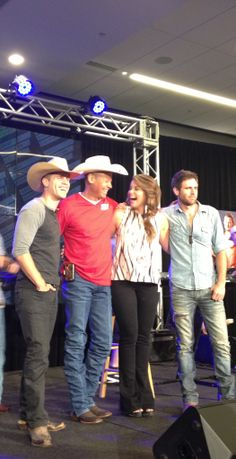 Lauren Alaina is having fun with Neal McCoy, Dustin Lynch, and Canaan Smith after stellar performances at the GAC Breakfast Series, June 5, 2014 during the CMA Fest.