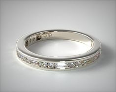 49405 wedding rings, matching bands, 14k white gold alternating baguette and round diamond wedding ring item - Mobile