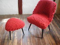 Strick-Sessel: restaurierter Vintage Sessel mit gestricktem roten Bezug / vintage armchair with knitted cover for your living room made by jeann.art via DaWanda.com