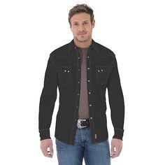Wrangler Men's Retro Long Sleeve Spread Collar Solid Shirt - (Size: