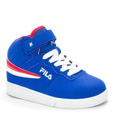 Another great find on #zulily! Blue & White Hi-Top Sneaker by #FILA #zulilyfinds