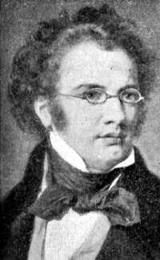 """Franz Schubert(1797 - 1828) was born in Lichtwnthal, Vienna. He was shy and timid about showing or performing his compositions. In 1813, he wrote his first symphony in D. He lies buried next to Beethovan, in the Central Cemetery in Vienna. My favourite piece of his works is, """" La Serenade""""."""